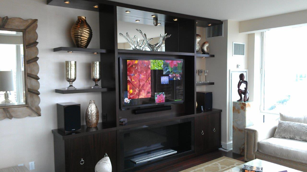 Home Theater system, overhead speakers, TV, Projector, projector screen