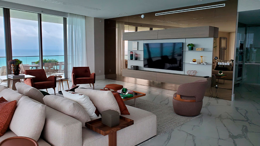 Luxury apartment with home theater and invisible speakers